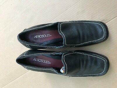 (Aerosoles Black Leather Ladies Shoes Womens Heels SIZE 10M HEEL:ABOUT 2.5'')