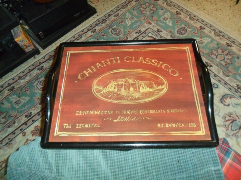 Vintage CHIANTI CLASSICO Lap Serving Tray Or Wall Hanger Made In Thailand Rare !