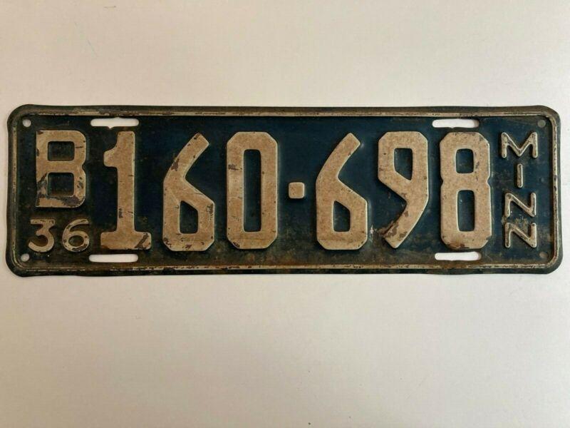1936 Minnesota License Plate 100% All Original