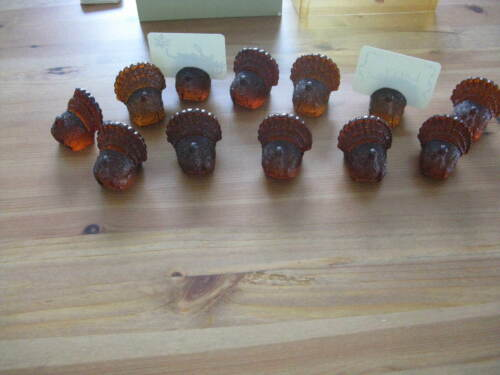 12 Hallmark Thanksgiving Turkey Place Card Holders Hard Plastic