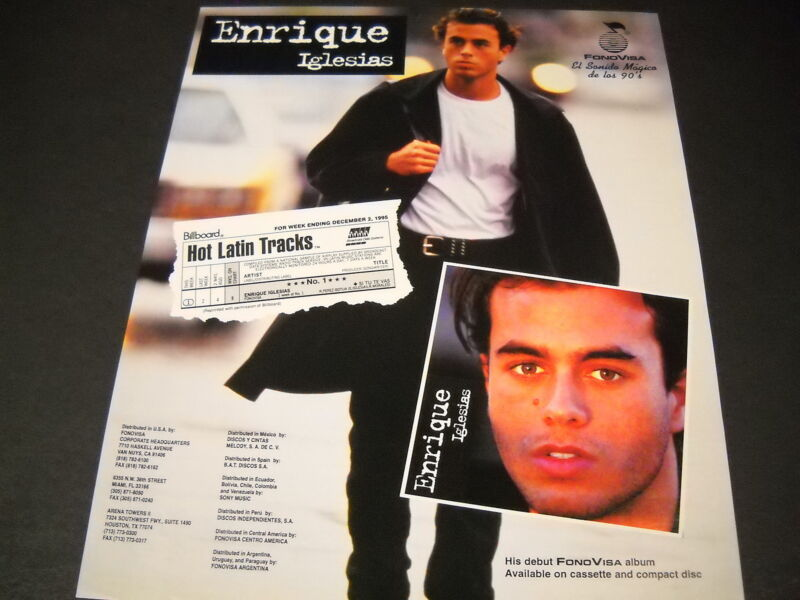 ENRIQUE IGLESIAS 1995 Promo Poster Ad HOT LATIN TRACKS... mint condition