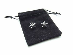 Silver Tiffany design Starfish Earrings - Black Velvet Gift Pouch - UK Seller