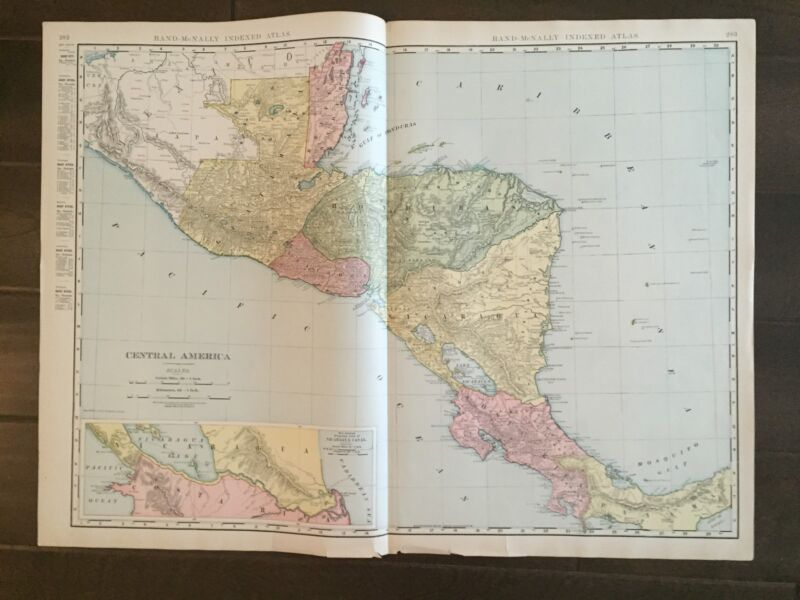 """Large 21"""" X 28"""" COLOR Rand McNally Map of Central America-(1905)"""