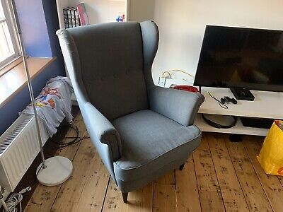 IKEA Strandmon Wing Chair Armchair High Back Dark Grey Fabric