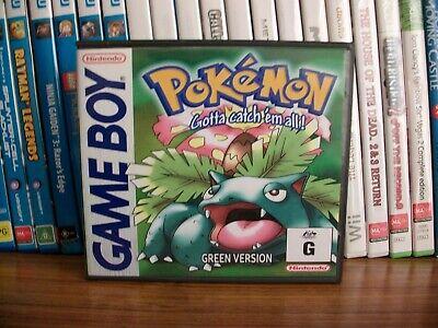Pokémon Green Version(English)with Aus Cover & cartridge Label & GB logo shell.