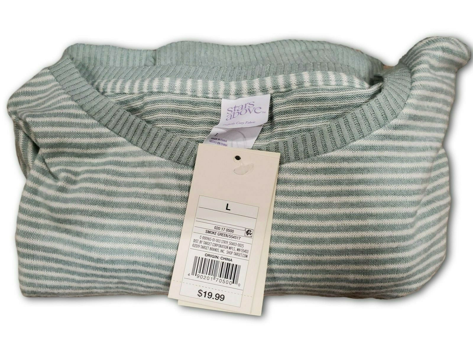 Women's Perfectly Cozy Lounge Long Sleeve by Stars Above – Green Stripe – Large Clothing, Shoes & Accessories