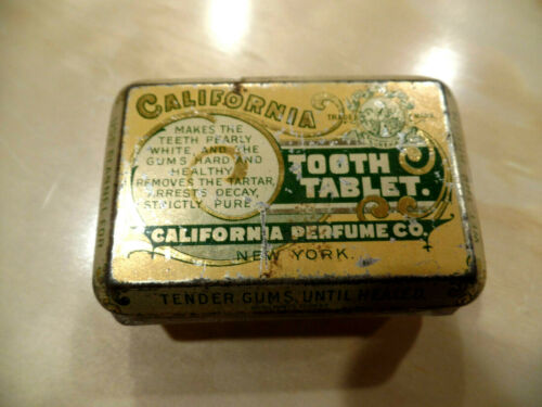 ANTIQUE TOOTH TABLET TOOTHPASTE TIN LITHO LIDED GLASS CONTAINER PERFUME CO NY