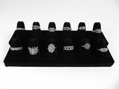 One 12-finger Ring Display Black Velvet Jewelry Showcase Rings