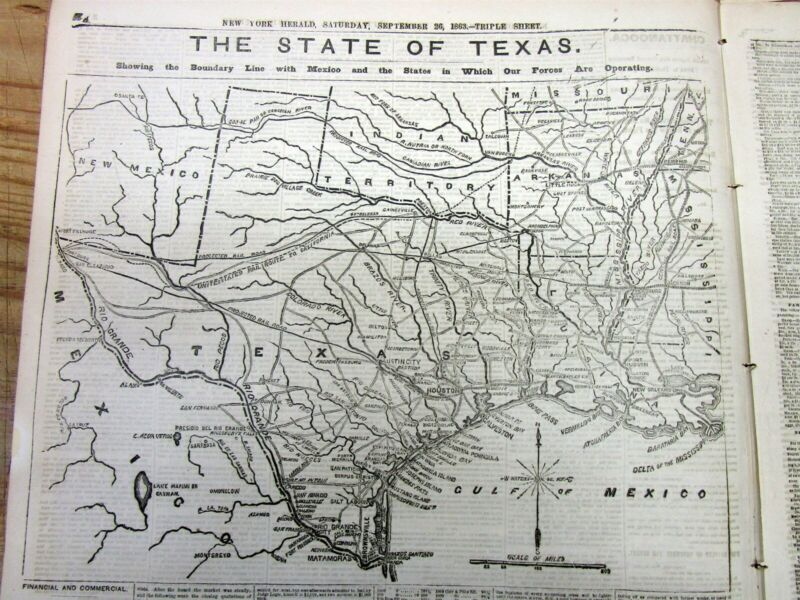 1863 Civil War newspaper w BEST large detailed MAP of CONFEDERATE STATE of TEXAS