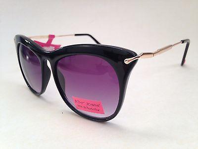 Betsey Johnson Women's Sunglasses Extreme Cat Eye Gradient Lens Black Gold New