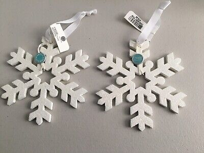 """MARTHA STEWART COLLECTION Macy's Pair of 5"""" Glitter White Wooden Snowflakes NWT"""