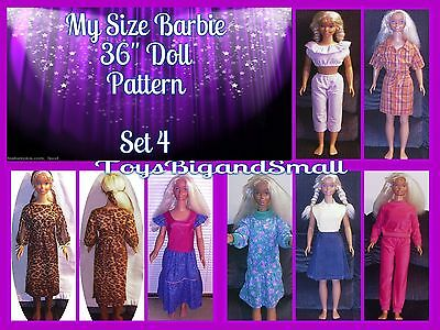 Set 4 - 7 Pattern Set Wardrobe for My Size Barbie Dolls