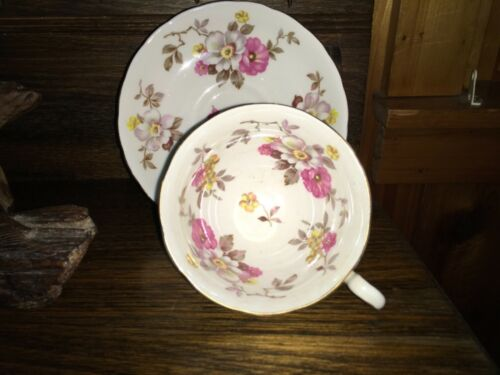 Royal Chelsea pink & white Wild Rose #2881A bone China Cup & Saucer