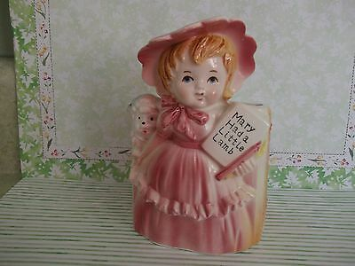Little Girl Planter - VTG. PLANTER~MARY HAD A LITTLE LAMB~NURSERY RHYME PINK CLAD GIRL,LAMB~E.O. BRODY