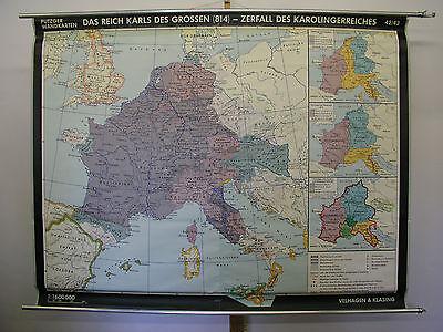 Schulwandkarte Beautiful Wall Map School Role Karl the Great 183x142 1966