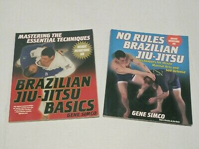 Lot Of (2) Gene Simco BRAZILIAN JIU-JITSU Books With Instructional DVD's