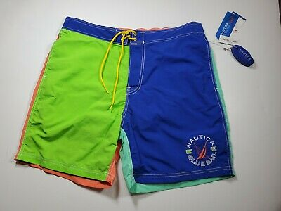 Nautica Mens Blue Sail Swim Trunks  Colorblock Blue Green Keychain Size L NEW