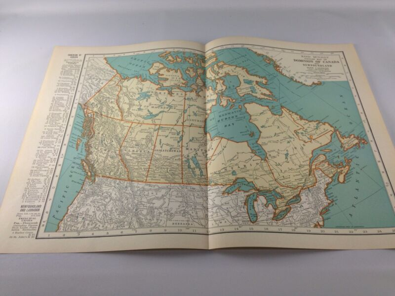 Vintage 1934 Rand McNally Map of Canada and Newfoundland ~  Color ~ Ships Free!