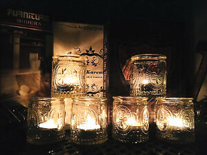 6 X Glass Votive Tea Light Candle Holders Hanging Jar Vintage Home Wedding Decor