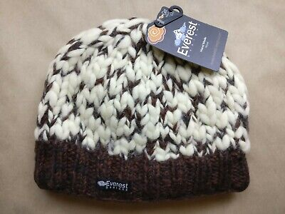 Everest Designs Thick Knit Beanie Winter Hat Cap 100% Wool Lined Hand Knitted