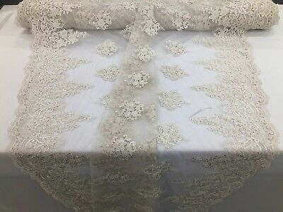 Ivory Beaded Fabric Embroidery Beads Fabric Lace Wedding Dress By The Yard for sale  Shipping to Canada