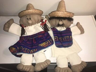 Handmade Hand Puppets From Cozumel Mexico With Sombrero