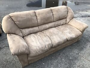 BEIGE SWEDE 3 SEATER COUCH - GOOD COND - DELIVERY AVAILABLE