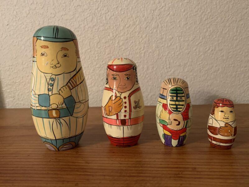 Vintage Famous Baseball Nesting Dolls