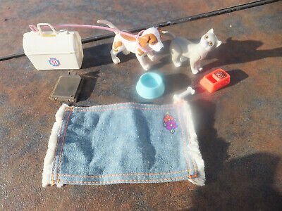 Vintage Lot of Barbie Accessories - Veterinarian Dog Cat Bowls Leash Bag MORE!