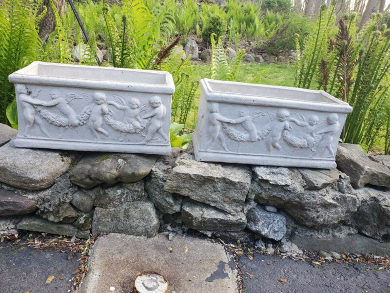 Pair of Antique Large Vintage Concrete Rectangular Planters - Gorgeous Details!