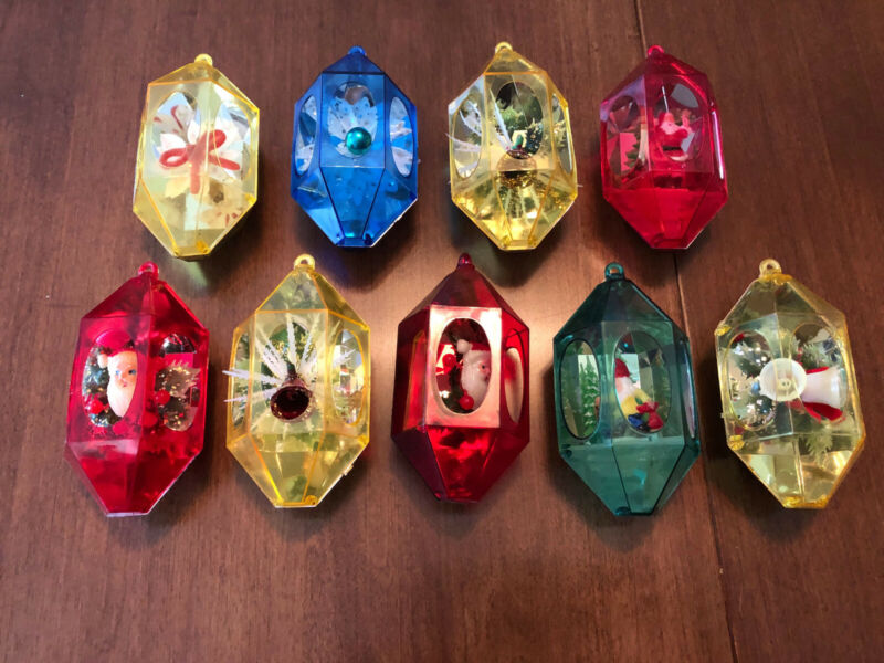 (9) Vintage Plastic Jewelbrite Diorama Ornaments