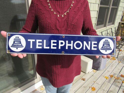 VINTAGE ORIGINAL 1926 PORCELAIN BELL SYSTEM TELEPHONE SIGN - DOOR PUSH SIGN EXC.