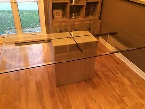 Glass table with marble base Windsor Region Ontario image 1