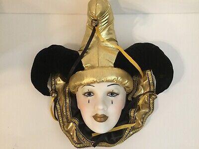 Vtg Mardi Gras Black and Gold Harlequin Porcelain Jester Face Mask Wall Hanging