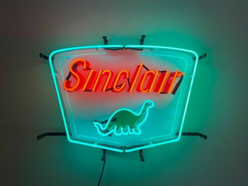 "New Sinclair Dino Gasoline Neon Sign 20""x16"" with HD Vivid Printing Technology"
