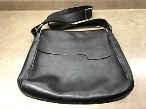 Black Leather Roots Messenger Bag