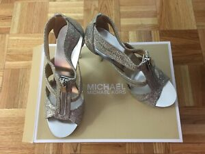 New silver Michael Kors heels sandals size 7.5