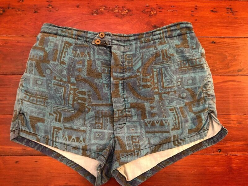Vintage 50s 60s Mens Swimsuit Trunks Short Cotton Tiki Abstract Blue Brown MCM S