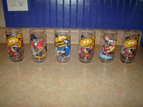 1977 McDonaldland Action Series Glasses Lot of 6 Vintage Mcdonalds Cups Retro