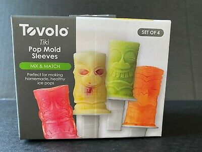 Tovolo 4 Piece Tiki Ice Pop Molds Sleeves Set Frozen Treats Popsicle