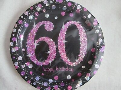 60th Birthday Party Plates (60TH HAPPY BIRTHDAY PARTY PAPER LUNCH PLATES BLACK PINK SILVER SPARKLE 8CT 9IN )