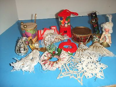 VINTAGE LOT OF 15 ASSORTED HAND MADE CHRISTMAS ORNAMENTS