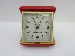 Vintage Wind-Up Folding Travel Alarm Clock By Westclox in Red Case