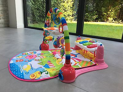 Baby Gym Play Mat Lay & Play 3 in 1 Fitness Music And Lights Fun Piano Pink