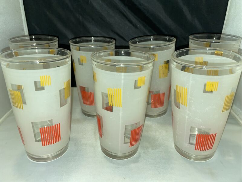 Set Of 7 Vintage Rare Hazel Atlas Frosted 12 oz Glass Tumblers White Red Gold