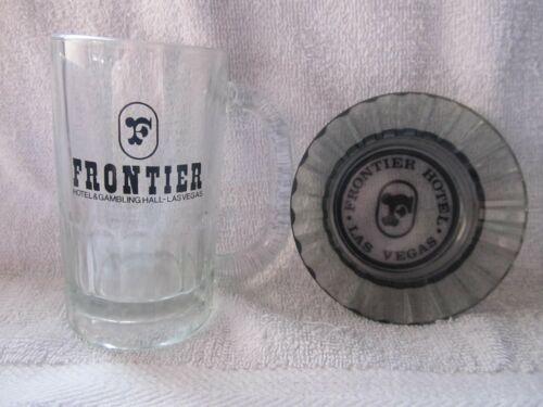 Vintage Frontier Hotel/Casino Las Vegas Glass Beer Mug & Smoke Glass Ashtray