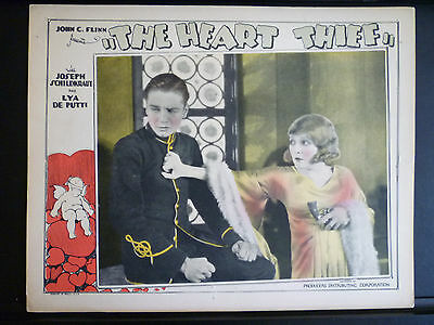 1927 THE HEART THIEF - RARE EXC CON SILENT ERA LOBBY CARD - COUPLE WITH A GUN