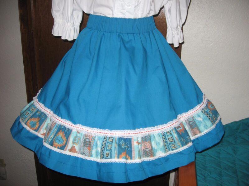 Teal Blue Square Dance Skirt  - M