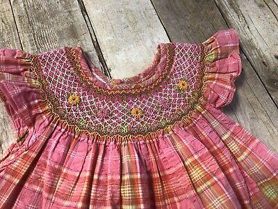 Size 4 Anavini Smocked Dress Pink Floral Seersucker