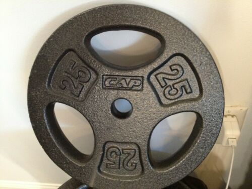 """Weight 2.5, 5, 10, or 25lb Pound Cast Iron Standard 1""""/Olympic 2"""" Barbell Plates"""